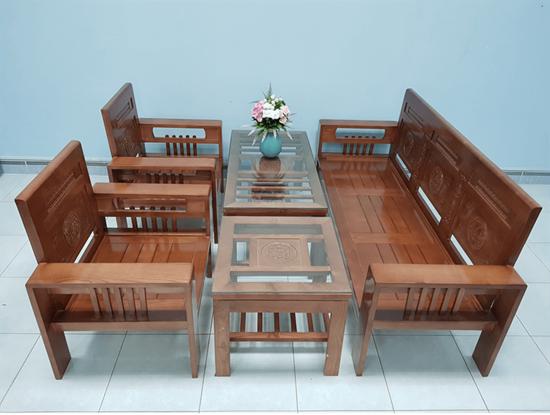 Hình ảnh của Salon - Sofa gỗ sồi mẫu Phúc Lộc Thọ màu cánh gián