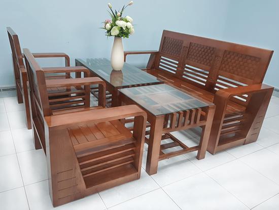 Hình ảnh của Salon - Sofa gỗ sồi mẫu nancot màu cánh gián