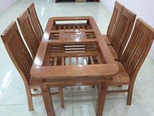 Hình ảnh của Bàn ăn gỗ sồi nga 2 tầng 6 ghế 1,6m (Màu xoan)