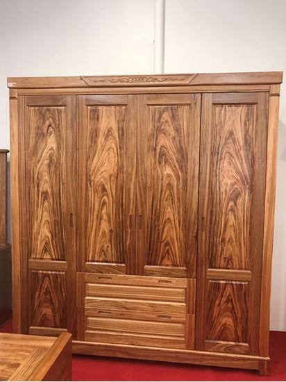 Tủ quần áo 4 cánh gỗ hương xám (Màu tự nhiên) tại Phan Thiết