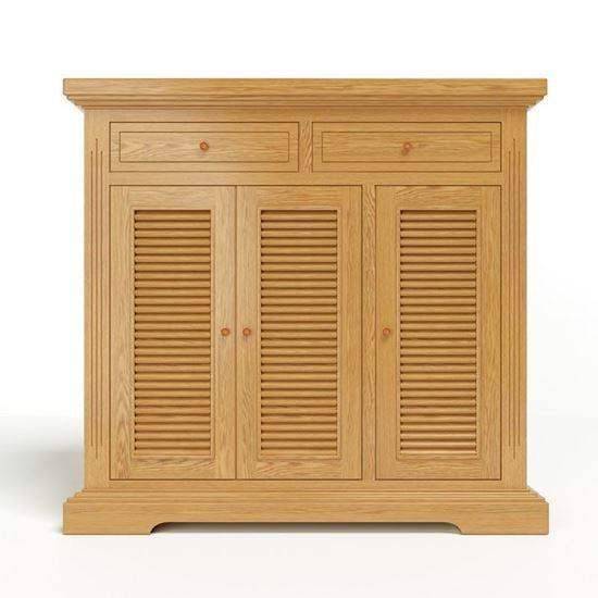 Nội thất gỗ Phan Thiết, tủ giày Victoria 3 cánh lá sách gỗ sồi 100 x 40 x 100 cm (Nâu gỗ)