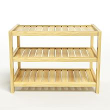 Nội thất gỗ Phan Thiết, kệ dép 3 tầng gỗ cao su 63 x 30 x 50 cm màu tự nhiên