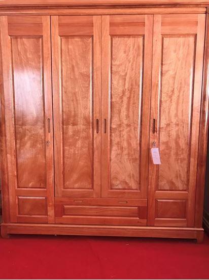 Bán tủ quần áo 4 cánh gỗ đinh hương 2m (Màu tự nhiên) tại Phan Thiết