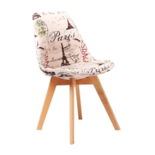 Nội thất Phan Thiết, ghế ăn DSW bọc nệm Phố Việt 49 x 55 x 80,3 cm (Họa tiết)