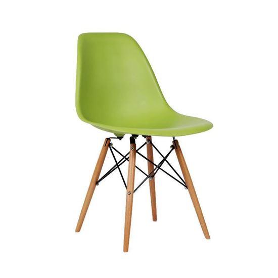 Nội thất Phan Thiết, ghế chân gỗ DSW Phố Việt 53 x 46 x 83 cm (Xanh lá)