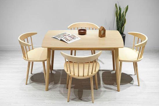 Bộ bàn ăn 4 ghế gỗ cao su 1m3