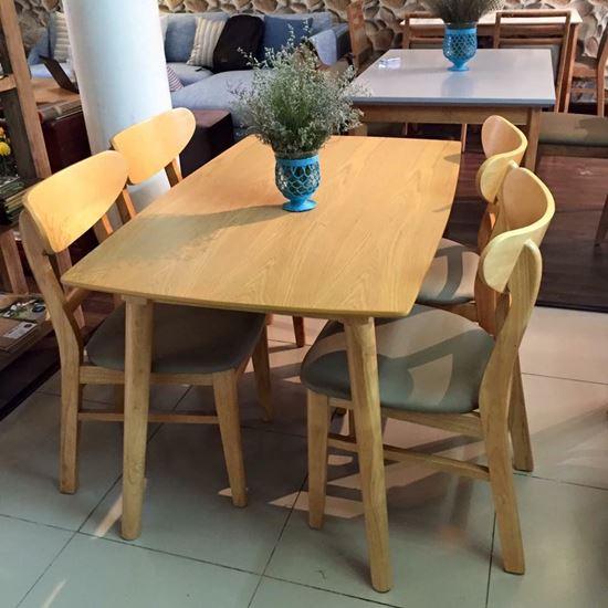 Bộ bàn ăn cao su 4 ghế mango - Nội thất gỗ Bình Thuận