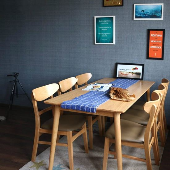 Bộ bàn ăn cao su 6 ghế mango