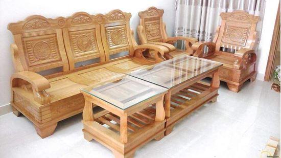 Salon gỗ sồi tự nhiên mẫu Trống Đồng