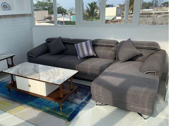 Sofa góc bọc nỉ phòng khách hiện đại